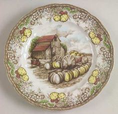 """Johnson Brothers The Friendly Village (""""England 1883"""" Backstamp) Luncheon Plate"""