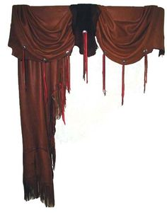 western curtains | Leather curtains with numerous options such as valance, antler conchos ...