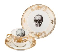 as seen on Culture Label gold and skulls teacup saucer plate sets
