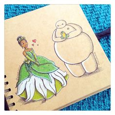 Some adorable art from DeeeSkye on Deviant Art of Baymax with some of the Disney princesses. Tiana.  [For more Disney tips, secrets, pics, etc., please visit my blog: http://grown-up-disney-kid.tumblr.com/ ]