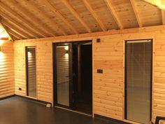Inside bespoke garden room, Lined with Log Lap, UPVC doors & windows,