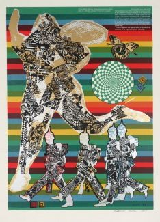 Wittgenstein the Soldier - 1964. Paolozzi is famous for his various collage artwork and this one features a military theme where it shows a small group following a leader, whose status is emphasized through his size in comparison to the group. Although there any presence of real life human imagery being used, Paolozzi has cleverly pieced them together to create a silhouette that resembles the human body.