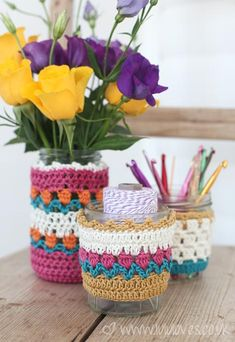 Crochet Spring Jar Cosies - Lululoves ༺✿ƬⱤღ✿༻