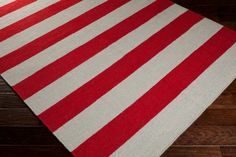 Light Gray and Brick Red Striped Area Rug