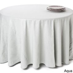 Saro Classic Shimmer Linen Blend Round Tablecloth