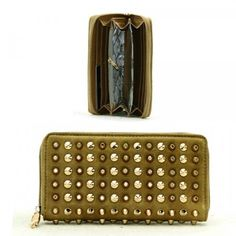 Gold Metal Studs Spikes Wallet / Green/ Rchwf26grn by MON REVE JEWELRY. $23.50. GOLD METAL STUDS. SPIKES. H 3 1/2 INCH X W 7 1/2 INCH. WALLET. WALLET / POLYURETHANE / GOLD METAL STUDS / SPIKES / ZIP TOP CLOSURE / H 3 1/2 INCH X W 7 1/2 INCH. Save 33% Off!