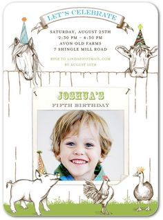 Farm Friends - Birthday Party Invitations in White   Lady Jae Designs
