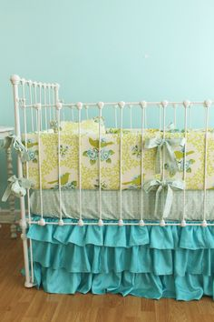 Love the Turquoise Turquoise Birdie Ruffles Custom Crib Bedding Set by LottieDaBaby, $450.00