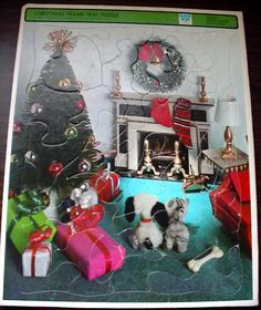 1969 WHITMAN PETITE PRINCESS DOLL HOUSE CHRISTMAS FRAME TRAY PUZZLE & KEN'S SOCK #WhitmanWesternPublishingCompanyInc