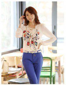 J71646 Korean Style Printing Bubble Sleeve Chiffon Shirt [J71646] - $8.25 : China,Korean,Japan Fashion clothing wholesale and Dropship online-Be the most beautiful Lady