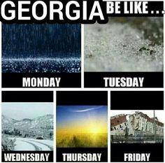 Georgia Weather; rain, ice, snow, sun, earthquake.  All in one week.