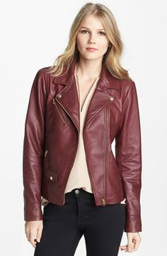 I'm going to get my red leather jacket one day!  Truth & Pride Leather Moto Jacket available at #Nordstrom