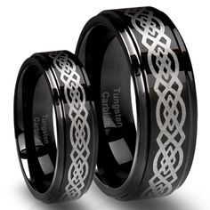 His & Her's 8MM/6MM Tungsten Carbide Wedding Band Ring Set Black plated with Celtic Design (Available Sizes 4-... $38.89