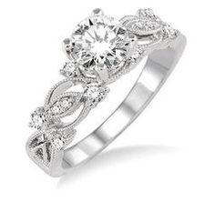 Wedding Diamond Engagement jewelry setting filigree. A delicate open lace design of filigree and diamonds Engagement setting