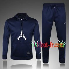 Survetement Foot de Sweat a Capuche PSG Bleu Royal 2017 2018