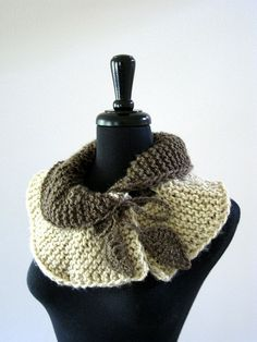 SALE - Cafe Latte Handknitted Scarf Collar Necklet Scarflette with Crocheted Leaves