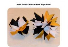 How to make a cheer bow. Pom pom bow made out of grosgrain ribbon. Simple video instructions. Love this! Perfect for any sports, cheerleaders, parties, etc.