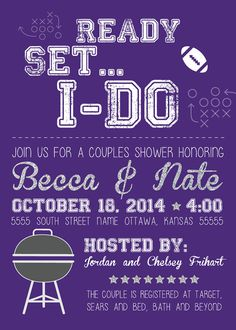 Tailgate & Football Theme Couples Shower Invitations - KooserDesign.com. Only $15 for the digital file!