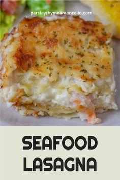 Seafood Lasagna Recipes, Crab Meat Recipes, Seafood Dishes, Shrimp Lasagna, Crab Meat Pasta, Shrimp Pasta Bake, Salmon, Blackberry Cheesecake, Bechamel Sauce