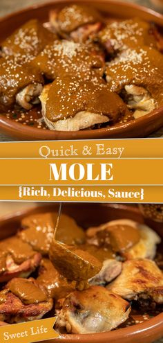 Mole is a rich, dark complex sauce made with chile peppers, chocolate and many more ingredients served during Día de Los Muertos. Today I am sharing a quick and easy mole recipe that you Mexican Food Recipes, Dinner Recipes, Mexican Dishes, Fall Recipes, Ethnic Recipes, Easy Cooking, Cooking Recipes, Mole Recipe, Mole Sauce