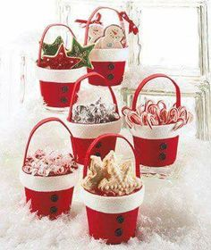 30 Elf & Santa Candy Pot Gift Ideas - down Christmas Clay, Christmas Goodies, Homemade Christmas, Diy Christmas Gifts, Christmas Treats, Christmas Projects, Holiday Treats, Christmas Holidays, Christmas Ornaments