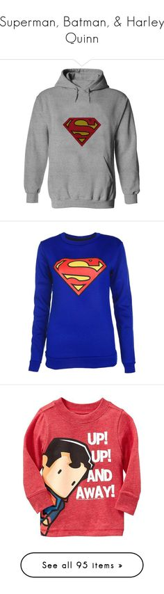 """Superman, Batman, & Harley Quinn"" by athena12henderson26 ❤ liked on Polyvore featuring tops, hoodies, superman, shirts, sweaters, shirt hoodie, checked shirt, unisex shirts, blue hooded sweatshirt and superman hooded sweatshirt"