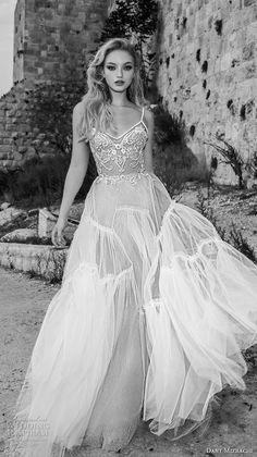 dany mizrachi spring 2018 bridal spaghetti strap sweetheart neckline heavily embellished romantic bohemian a  line wedding dress open strap back chapel train (31) mv -- Dany Mizrachi Spring 2018 Wedding Dresses