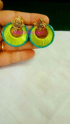 Silk Thread Earrings, Thread Jewellery, Ear Rings, Diy Earrings, Indian Bridal, Handmade Necklaces, Quilling, Tassels, Bangles