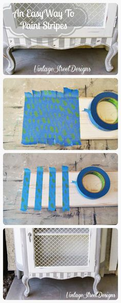 Painting staining faux finishes on pinterest - Painting stripes on furniture ...