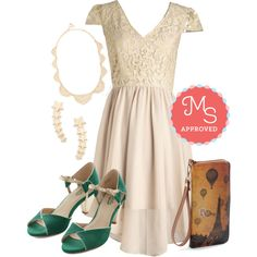 In this outfit: A Vision in Vanilla Dress, Love to Love You Necklace, Star Flight, Star Bright Earrings in Gold, Sepia You Soon Clutch, Curiosity Heel in Emerald