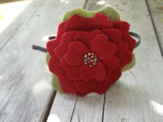 Scarlet Red/Moss Beaded Felt Peony Headband-photo by M3GBoutique