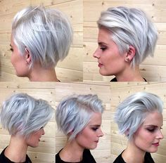 I love this pixie cut. It's stylish and simple yet elegant. This hair style and cut. looks.great with grey hair.