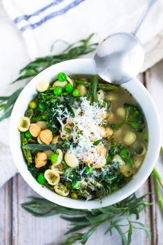 A delicious vegetarian recipe for Spring Minestrone Soup with Chickpeas and spring vegetables. Easy recipe, full of great flavor.