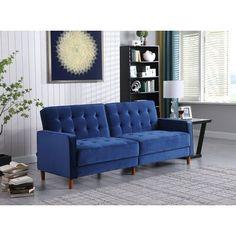 Everly Quinn Velvet Tufted Sofa w/ Wooden Legs Blue 34.0 x 78.0 x 37.0 in | Wayfair Canada
