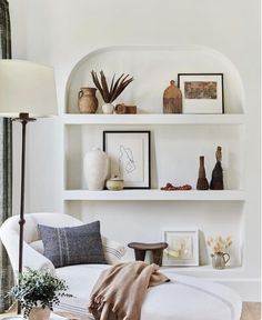 shelf styling Soft sage, zesty emerald and tantalising teal hit the insta hot spots in June. Cool white spaces and luscious outdoor areas scored highly with you too. Home Design, Interior Design, Design Crafts, Interior Ideas, Diy Crafts, Living Room Decor, Living Spaces, Bedroom Decor, Shelf Ideas For Living Room
