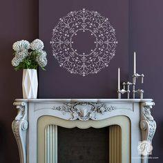 DIY Furniture Stencil Tutorial: Large Medallion Cabinet Makeover