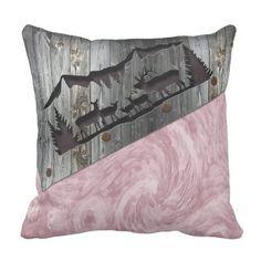 3D Rustic Wood Carved & Print Pattern 'Deer' Throw Pillow - pattern sample design template diy cyo customize
