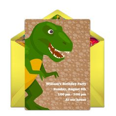 Gotta love this fun Dinosaur-inspired invitation design. It's great for a boy's birthday party! Easily personalize and send online for free.