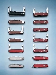 Evolution of the Swiss Army Knife via Victorinox PhotoPress Victorinox Knives, Victorinox Swiss Army Knife, Knives And Tools, Knives And Swords, Knife Holder, Cold Steel, Tactical Knives, Custom Knives, Survival Knife