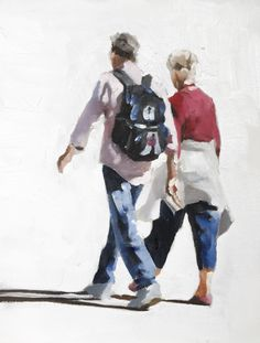 Couple Walking - Art Print - 8 x 10 inches - from original painting by J Coates by JamesCoatesFineArt on Etsy