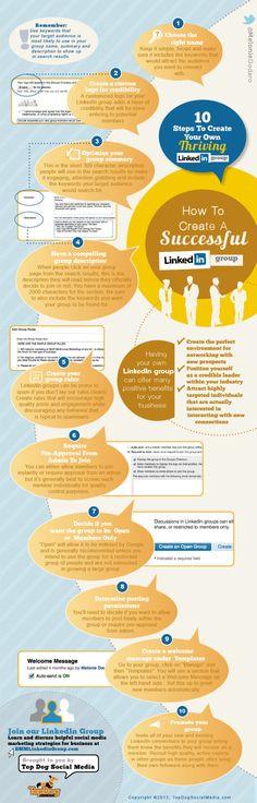 SOCIAL MEDIA - LINKED'IN         10 Steps to create your ownn Linkedin group #infografia #infographic #socialmedia.