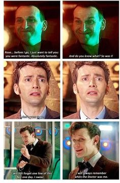 Ya de leer esto me pongo a llorar. Doctor Who - BBC - David Tennant - Christopher Eccleston - Matt Smith - Tenth doctor - Ninth doctor - Eleventh doctor - Time to say goodbye Tardis, Doctor Who Quotes, Out Of Touch, Don't Blink, Torchwood, Geronimo, Time Lords, David Tennant, Dr Who