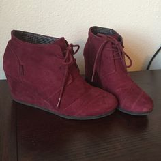Route 66 Maroon/wine suede lace up wedge bootie **not actual toms, just listed under toms for views and similarity. Worn only a handful of times and in overall good condition. Suede material wedge bootie very similar to toms desert wedge boot/suede. TOMS Shoes Ankle Boots & Booties