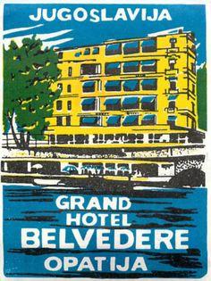 Jugoslavia Grand Hotel Belvedere ART Deco Luggage Label | eBay