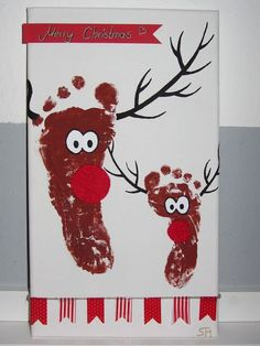 Rentier Bild Fußabdruck Reendier Foodprint print DIY selber Keilrahmen Acryl Farbe machen basteln anleitung tutorial malen Weihnachten Geschenk Basteln Weihnachtsgeschenk Kinder Erinnerung