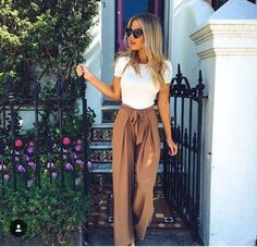 classics wide leg trousers and a fitted classic t-shirt