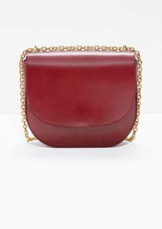 & Other Stories image 1 of Chained Leather Saddle Bag in Red