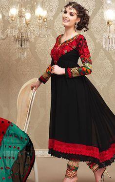 Blasting Black Faux Georgette Churidar Kameez Set (HSPNENE6001) - OnlineDesignerStore.com
