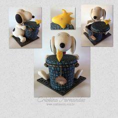 Pote Biscoitos Snoopy Porcelana Fria www.crisbiscuitt.com.br