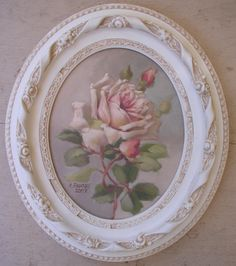 """Original """"Summer Blush"""" C.Repasy - Vintage style Rose picture with shabby white frame Chabby Chic, Shabby Chic Pink, Shabby Chic Cottage, Vintage Shabby Chic, Shabby Chic Homes, Shabby Chic Style, Romantic Cottage, Rose Cottage, Vintage Style"""